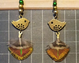 """Baby Peacock"" - bird, Peacock feather charm earrings"