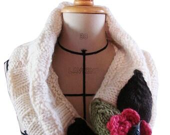 """""""Bamboo"""" collar Merino Wool and Alpine - cream"""