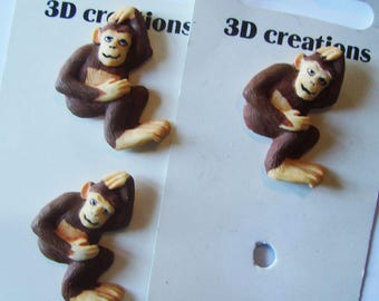 "Buttons 3D creations ""Monkey"", Brown - set of 3 buttons - European"