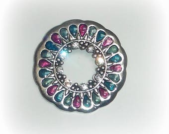 Purple/turquoise/green circle pendant & rhinestones