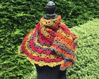 Grandma's Own - a vintage feel, handmade lacy crochet, wrap, throw, scarf. jewel colours, autumnal.  Birthday, anniversary, special occasion