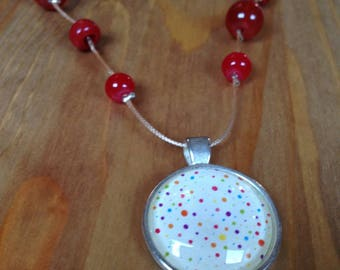 Necklace short cabochon with multicolor polka dots