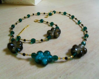 set (necklace and bracelet), colorful, original (green, blue, black and gold)