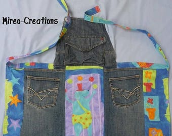 Colorful recycled jeans for kids and cotton apron