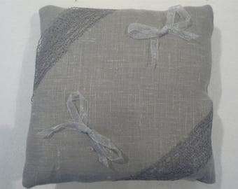 ring pillow with grey linen