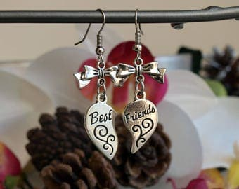 Jewelry earrings silver best friends pledge of friendship with bows