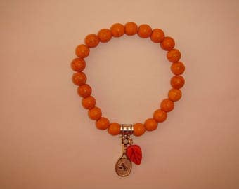 orange howlite color Beads Bracelet