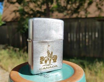 63-75 Canadian Zippo Lighter with Canadian  Mountie Engraving: Canada-Niagara Falls-Vintage-Collectible-Antique