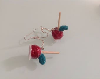 Earrings in polymer clay and resin clay Candy Apple.