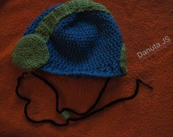 Hat helmet hifil joint is hand crocheted with acrylic yarn