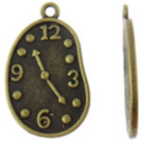 """Set of 5 """"Soft watch"""" bronze charms size 17 x 27, 5 mm"""