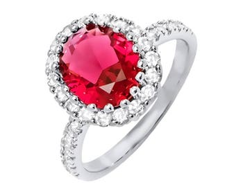 Light Red and White Russian CZ Oval Ring in 18K White Gold Plated Size 7