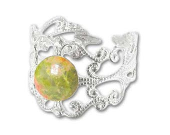 Ring silver plated - unakite (adjustable size) print