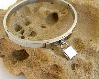Silver, charm, woman bracelet, bangle - bracelet chic steel padlock, padlock charm