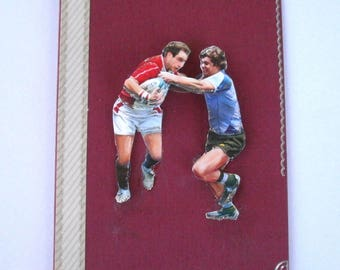 21 - Rugby players sport 3d greeting card