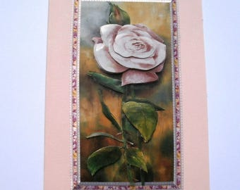 Pink 3D rose branch 53 - Greeting card