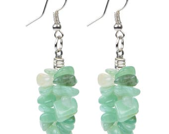Earring stone aventurine and silver 952
