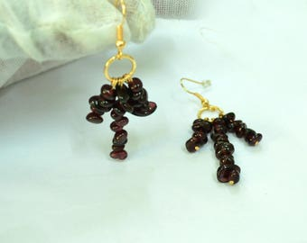 gold filled and Garnet stone gold plated hook earrings