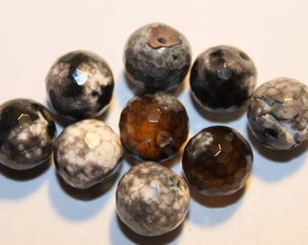 Stone beads, gray Agate, 10 mm, set of 5