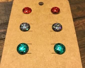 3 Pair Resin Glitter Earring Studs - 10mm