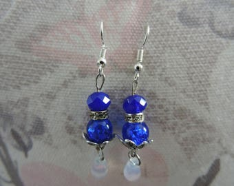 Blue, dangle earrings, silver...