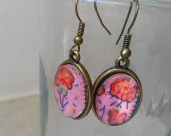 Earrings cabochon Fuchsia and red on silver plated