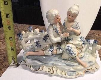 Vintage KPM Porcelain Woman and Man Courting Birds