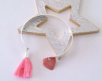 Pink pretty heart Bangle Bracelet