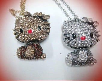 "Articulated cat rhinestone pendant ""bronze"""