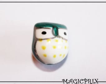 Set of 2 porcelain OWL green dark 17 x 15 mm m2597 beads