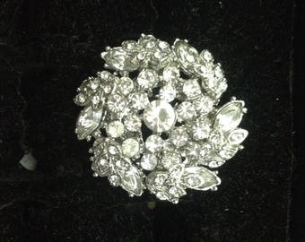 Silver plated ring & rhinestones size 54