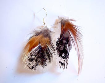 White feathers, copper earrings