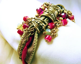 Silk bracelet red coral beads