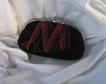 Wallet classic, silver metal frame, Black Suede and Red lace and black letter M, bobbin lace
