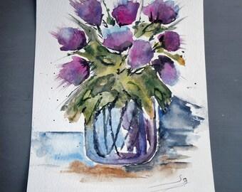 original watercolor painting on paper bouquet of flowers purple, blue