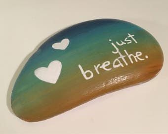 Just breathe rock painting