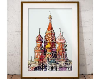 Moscow Print, Saint Basil's Cathedral, Moscow Onion Domes, Moscow Poster, Russia Print, Moscow Art, Travel Print, Wall Art, Travel Gift