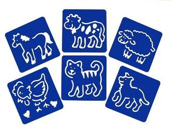 Animals kids stencil set x 6 - Oz International - Ref FC40073 - until the stock!