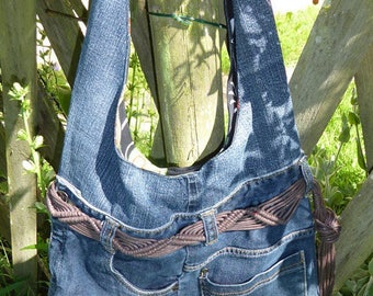 Bag with braided fringe belt recycled denim