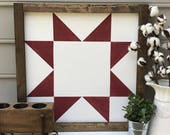 Large Heritage Red Ohio Star Barn Quilt Square Wooden Farmhouse Decor