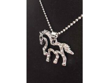 A pretty Unicorn necklace silver and cubic zirconia