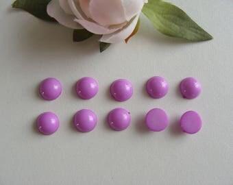 Set of 10 9 mm flat back purple cabochons