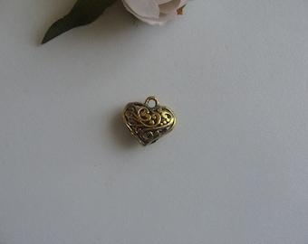 hollow heart pendant domed antique gold 2 cm