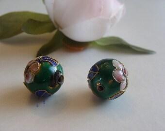 Lot 2 green enamel cloisonne beads