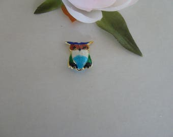 Cloisonné bead spacer multicolored OWL