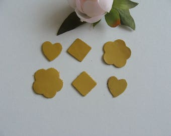 set of 6 assorted patterns yellow mustard color leather applique
