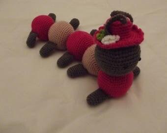 Caterpillar crochet baby Hat - pink