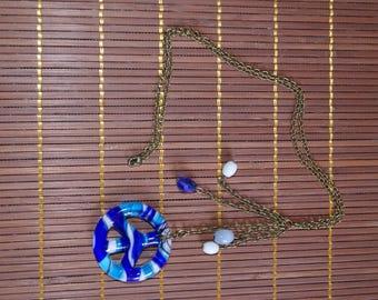 Necklace big blue glass peace charm