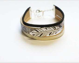 Faux snakeskin leather bracelet