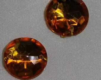 round acrylic rhinestone - 18 mm - orange